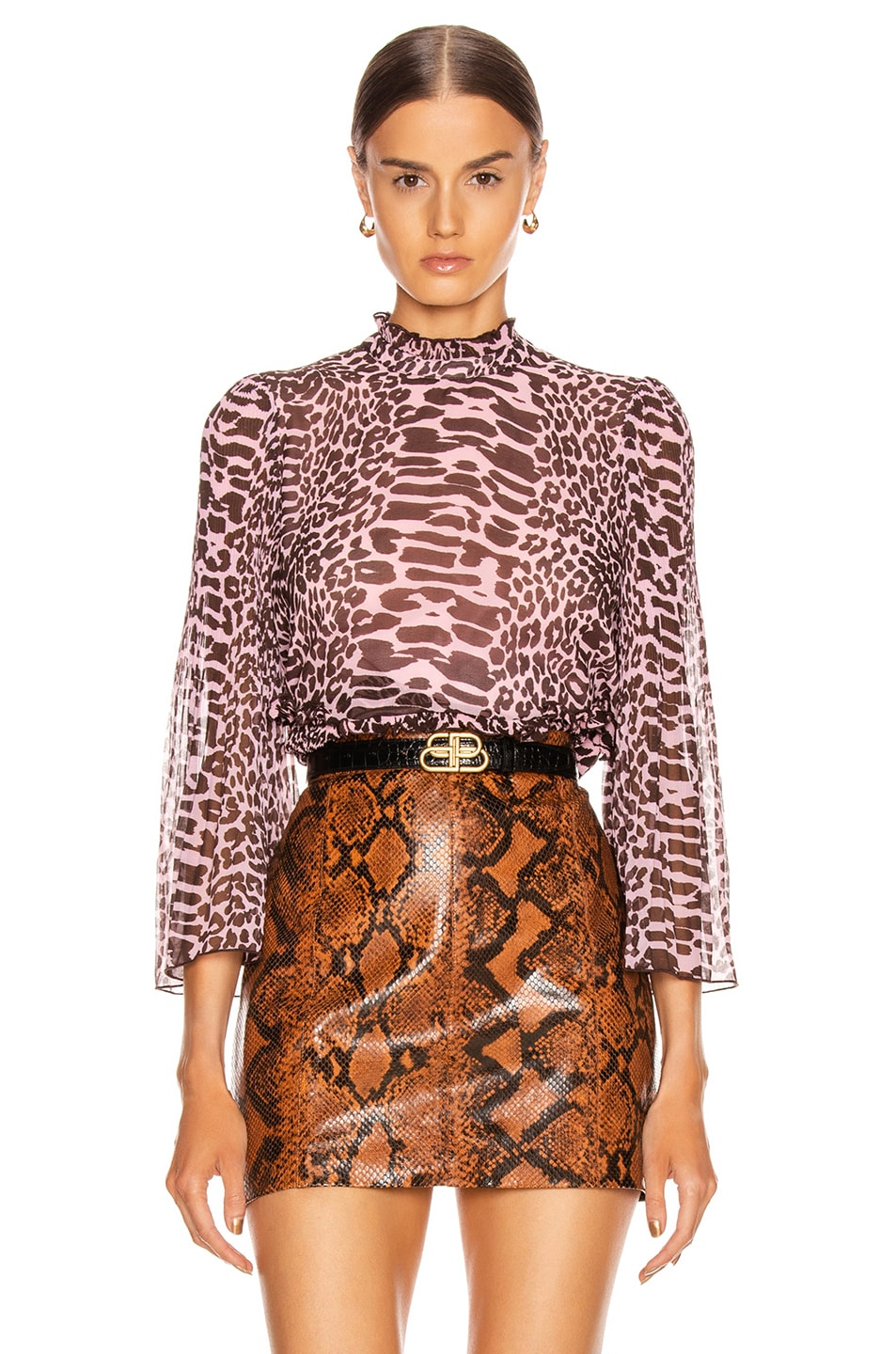 Image 1 of Ganni Pleated Georgette Top in Candy Pink and Dark Brown Leopard