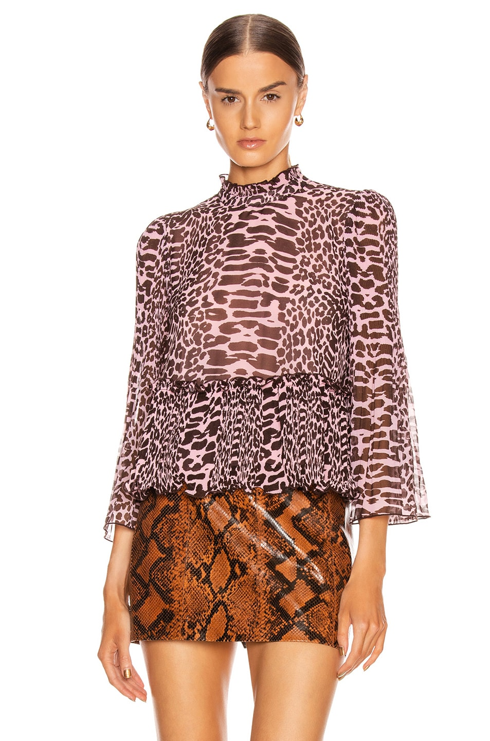 Image 2 of Ganni Pleated Georgette Top in Candy Pink and Dark Brown Leopard