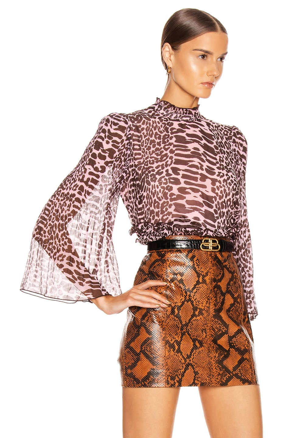 Image 3 of Ganni Pleated Georgette Top in Candy Pink and Dark Brown Leopard