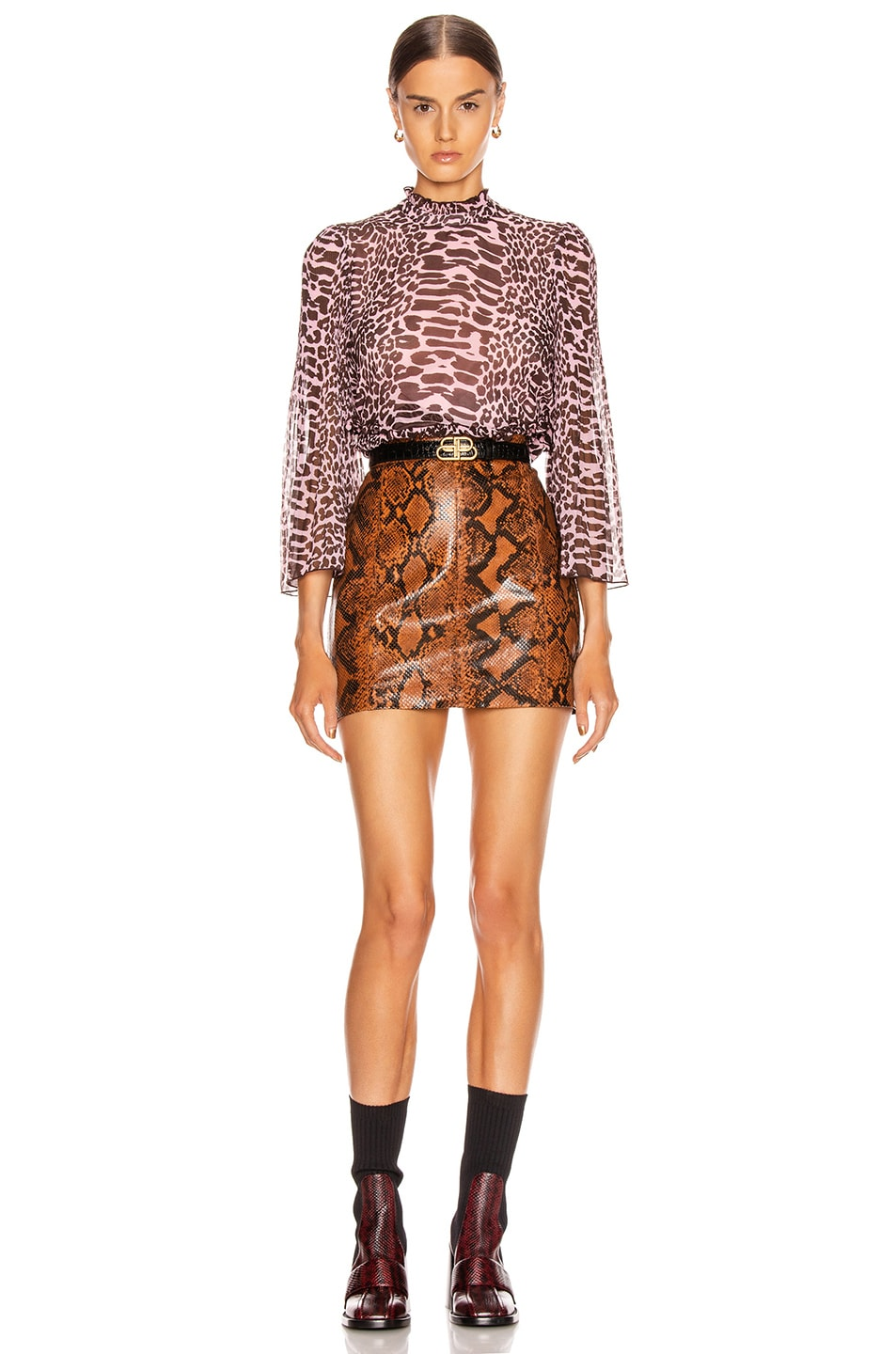 Image 5 of Ganni Pleated Georgette Top in Candy Pink and Dark Brown Leopard