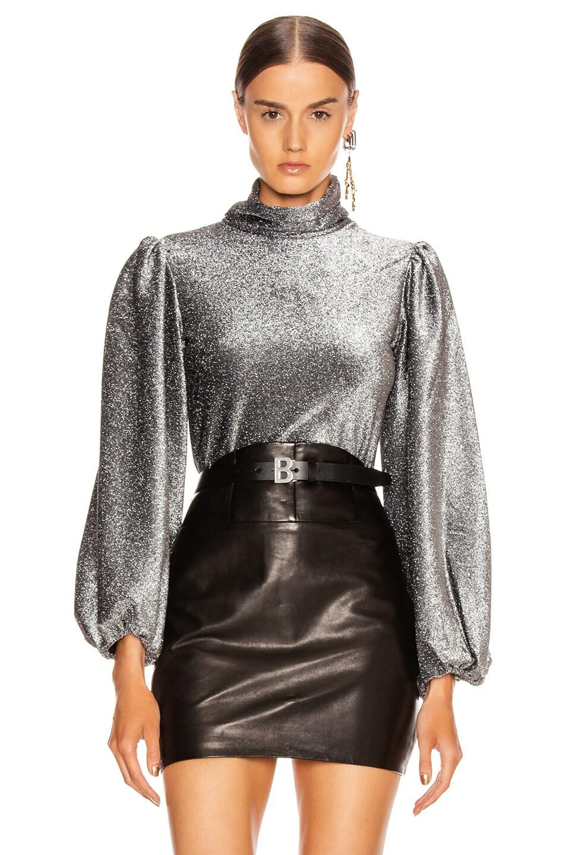 Image 1 of Ganni Lurex Jersey Top in Phantom
