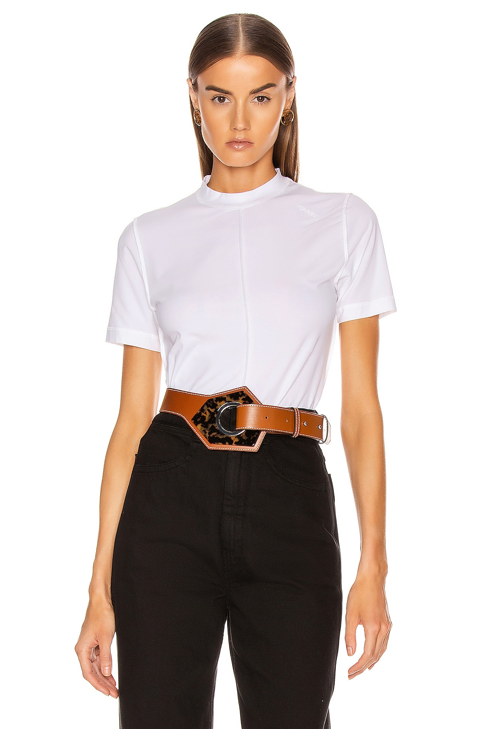 Image 1 of Ganni Light Stretch Jersey Tee in Bright White
