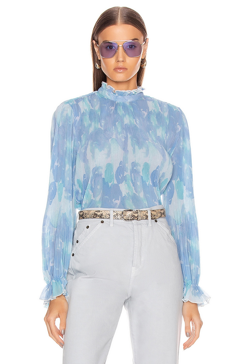 Image 1 of Ganni Pleated Georgette Top in Gray Dawn