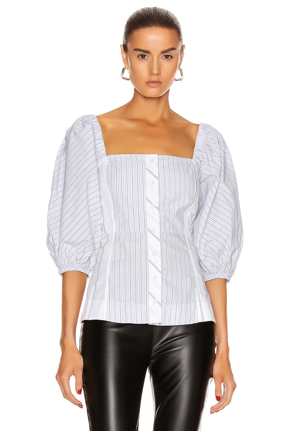 Image 2 of Ganni Shirting Cotton Top in Block Colour