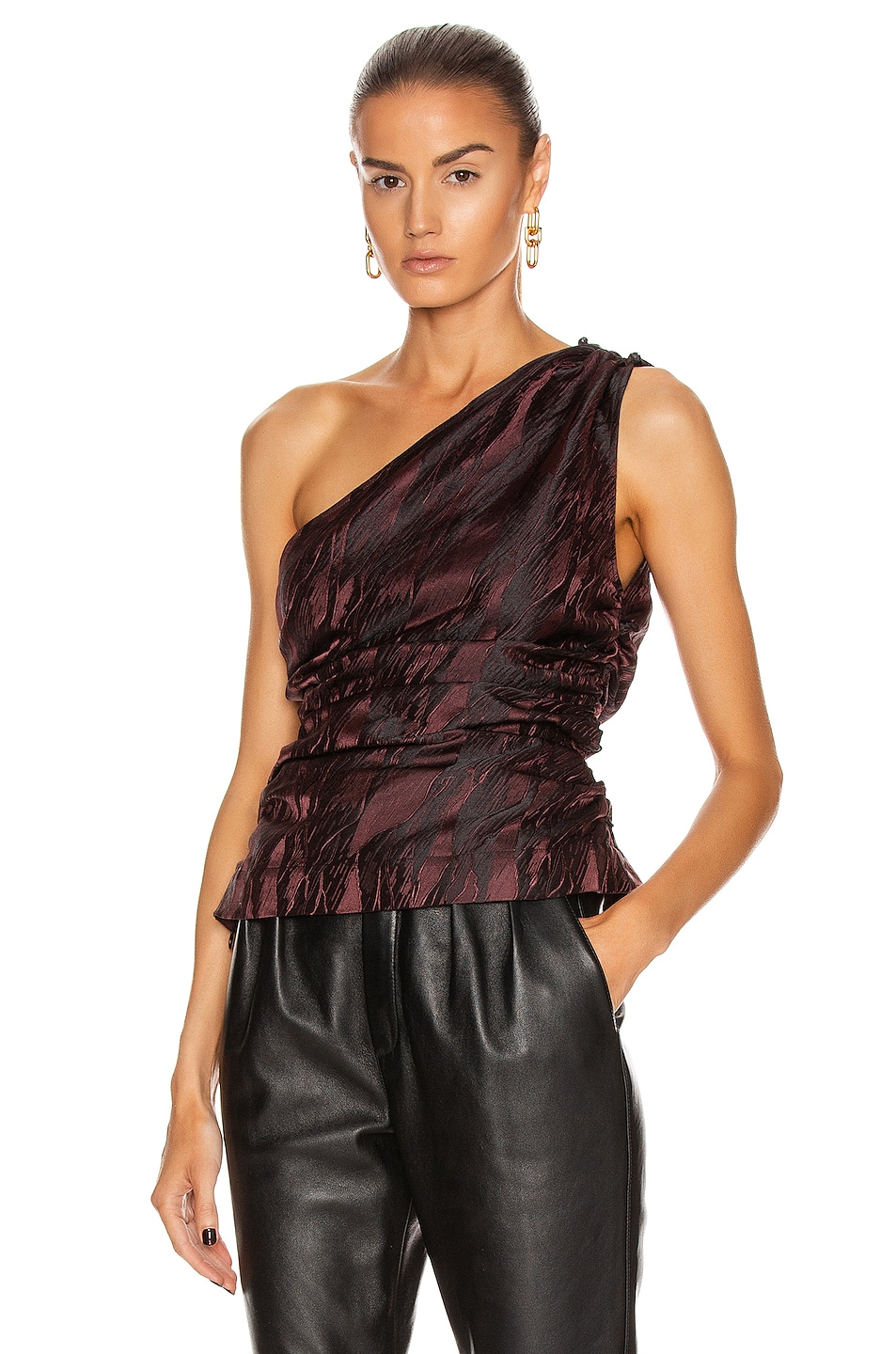 Image 2 of Ganni Jacquard Top in Decadent Chocolate