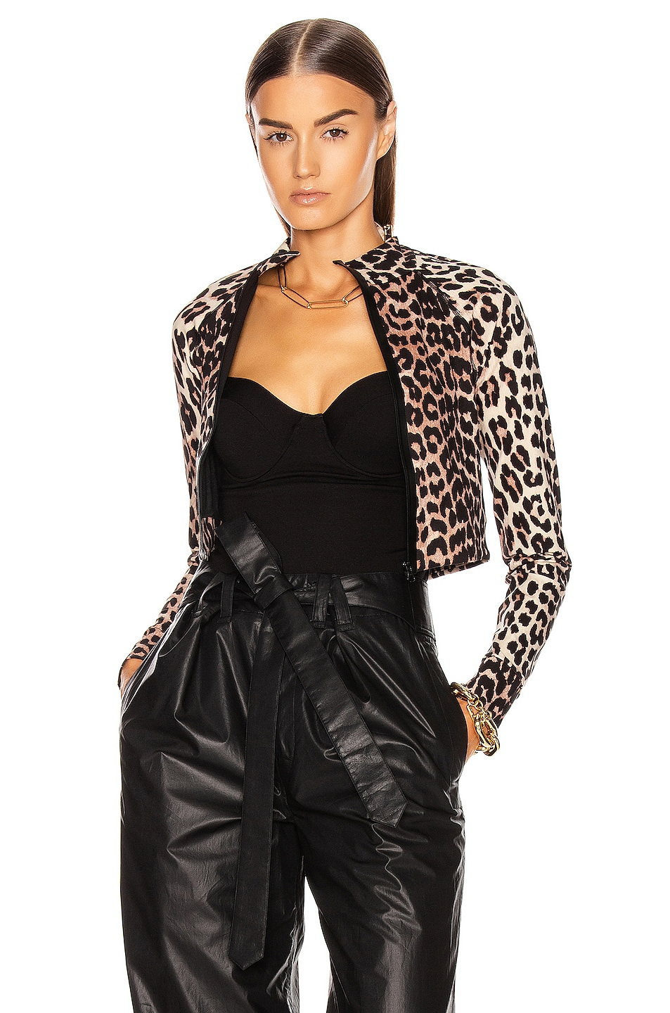Image 1 of Ganni Recycled Crips Swimwear Top in Leopard