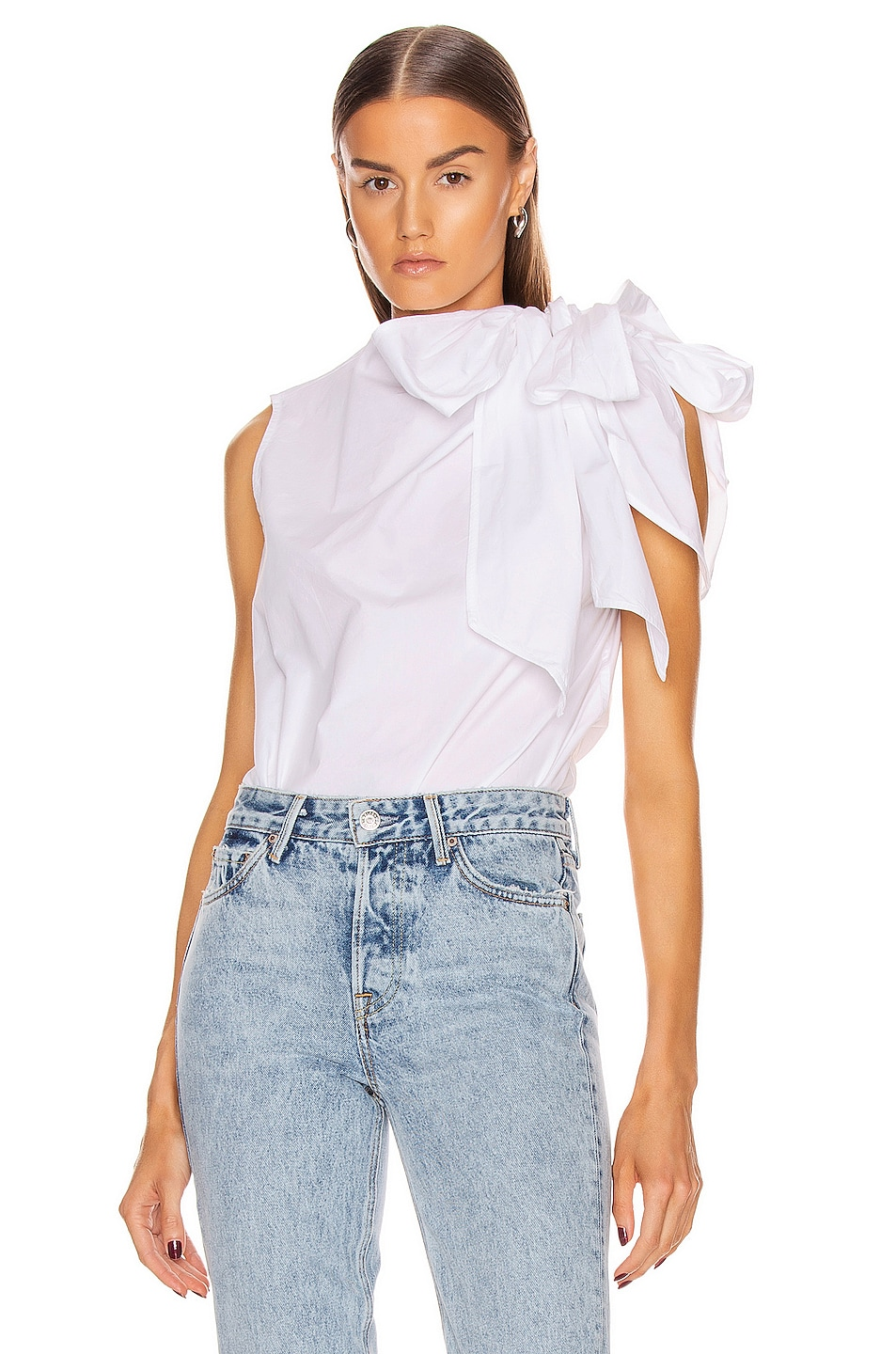 Image 1 of Ganni Cotton Poplin Top in Bright White