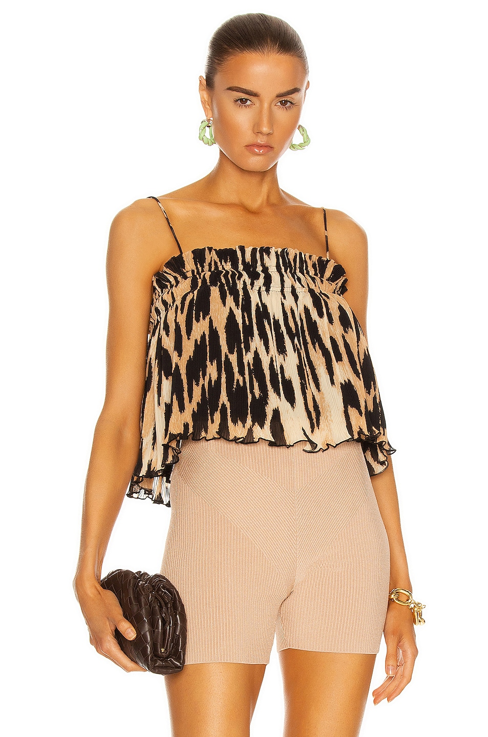 Image 1 of Ganni Pleated Georgette Top in Maxi Leopard