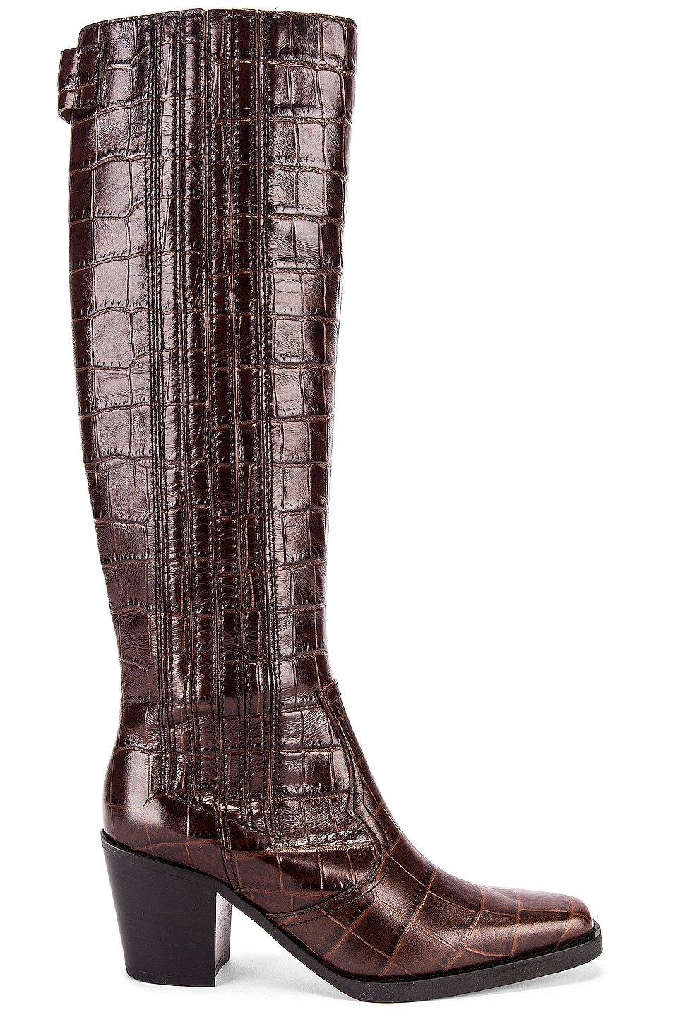Image 1 of Ganni Western Knee High Boots in Chicory Coffee