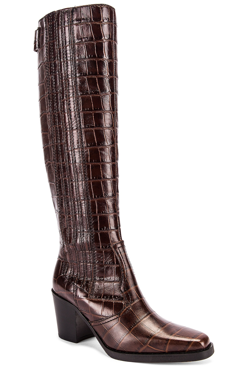Image 2 of Ganni Western Knee High Boots in Chicory Coffee
