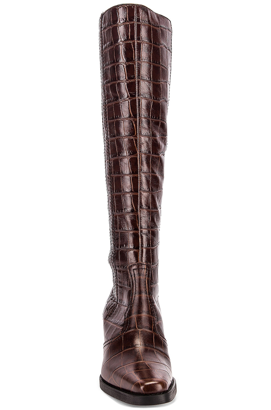 Image 4 of Ganni Western Knee High Boots in Chicory Coffee