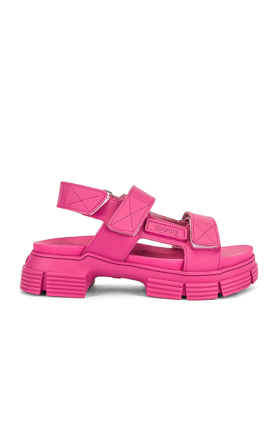 Image 1 of Ganni Recycled Rubber Sandal in Shocking Pink