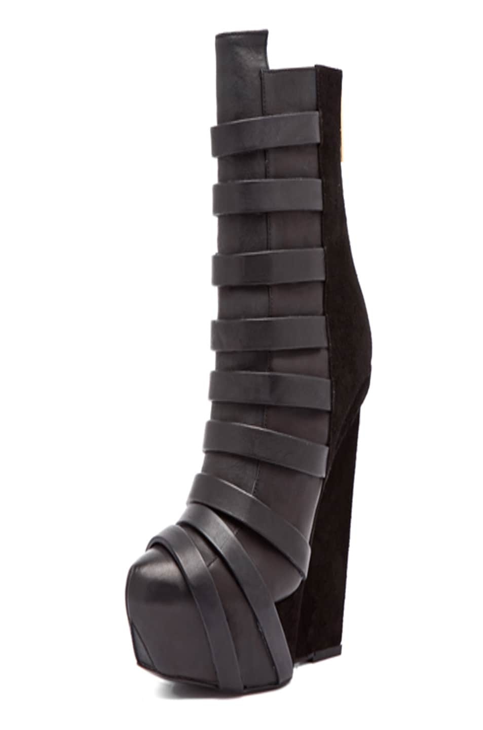 Image 1 of Gareth Pugh Strap Leather Wedge in Black