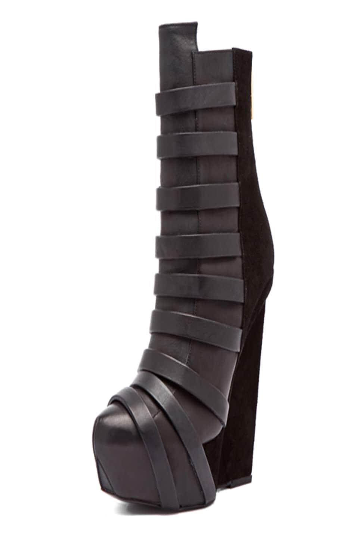 Image 1 of Gareth Pugh Strap Leather Wedge in Black