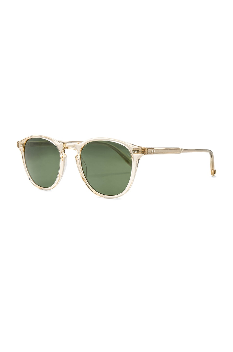 Image 2 of Garrett Leight Hampton 46 in Champagne & Pure Green