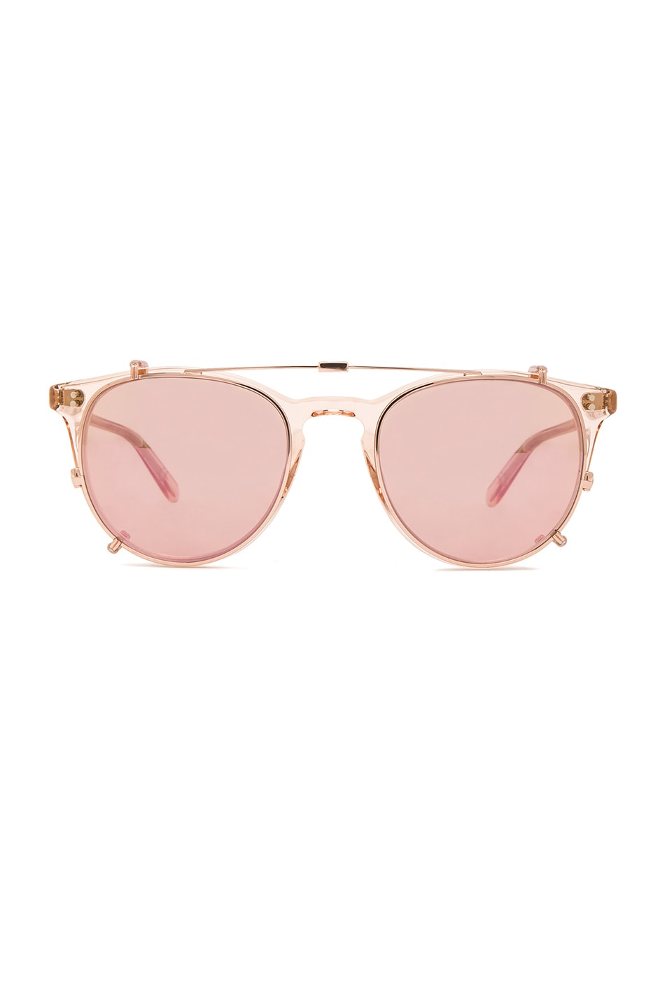 Image 1 of Garrett Leight Milwood Clip Sunglasses in Pastel Pink & Rose Gold