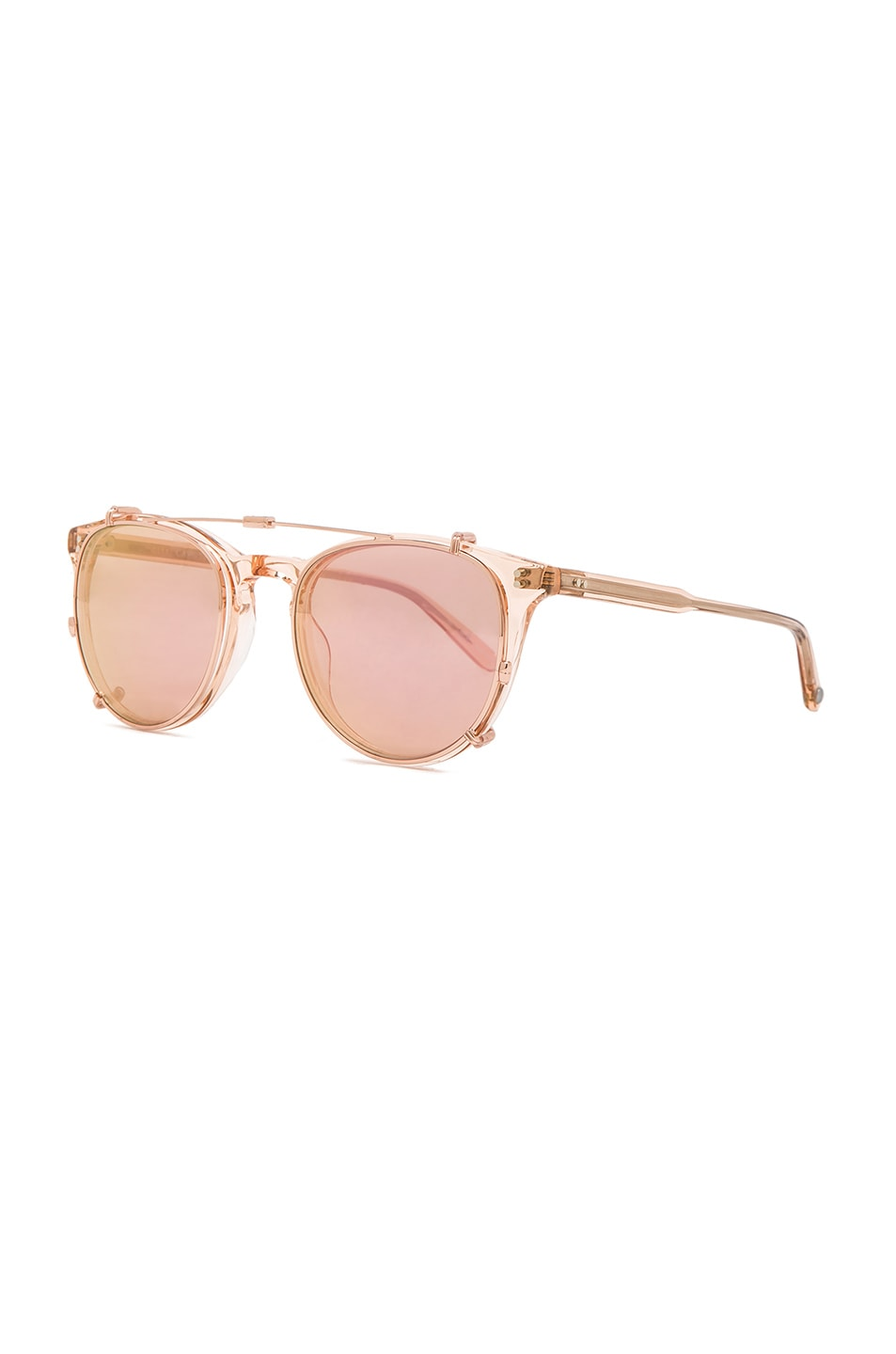 Image 2 of Garrett Leight Milwood Clip Sunglasses in Pastel Pink & Rose Gold