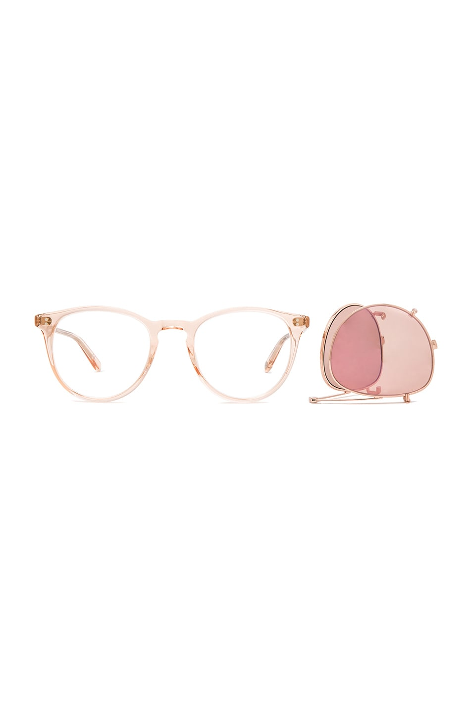 Image 4 of Garrett Leight Milwood Clip Sunglasses in Pastel Pink & Rose Gold