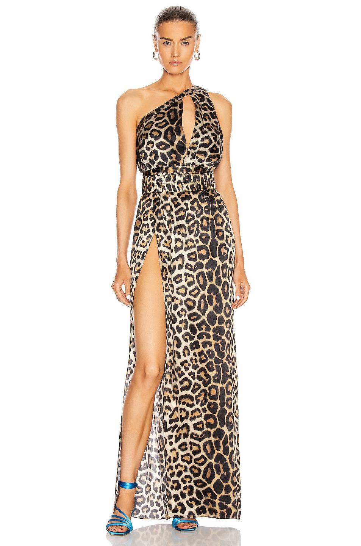 Image 1 of GAUGE81 Tokyo One Shoulder Maxi Dress in Leopard