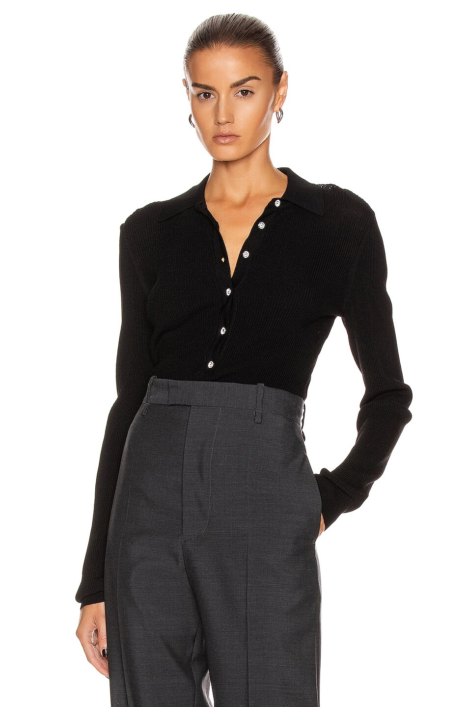 Image 1 of GAUGE81 Basel Knit Polo Top in Black