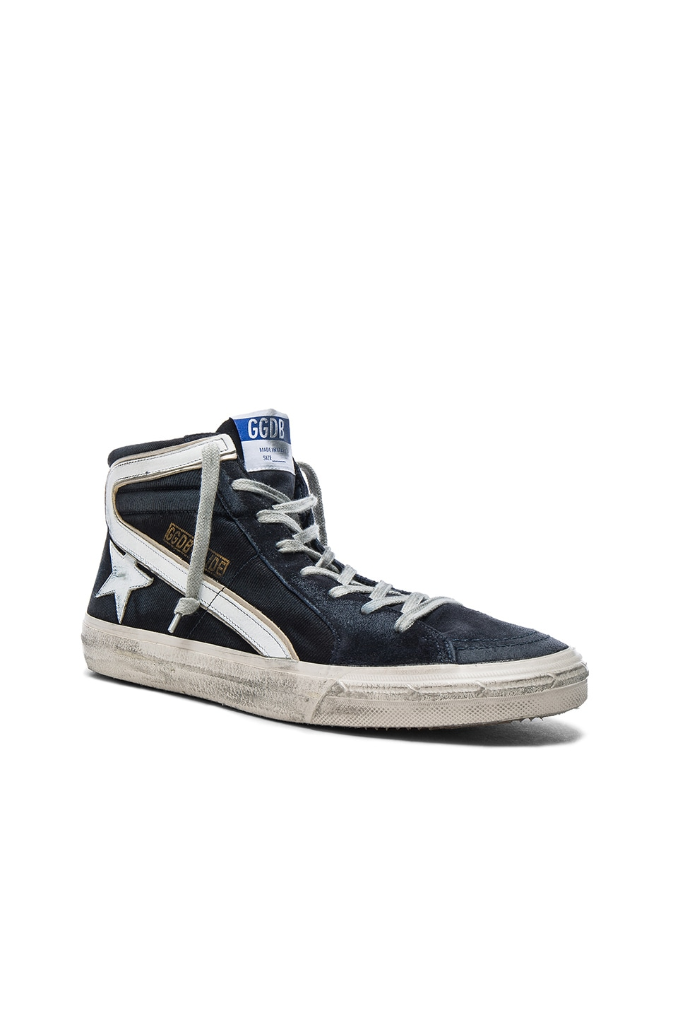 Image 1 of Golden Goose Suede Slide Sneakers in Navy Denim
