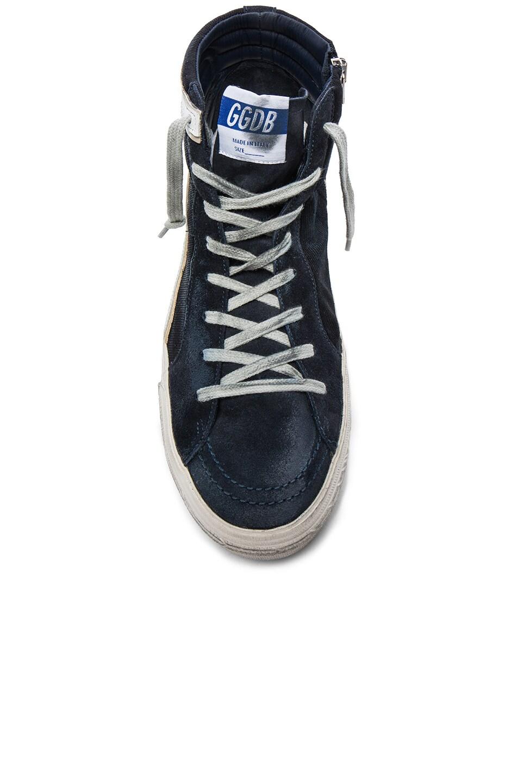 Image 4 of Golden Goose Suede Slide Sneakers in Navy Denim