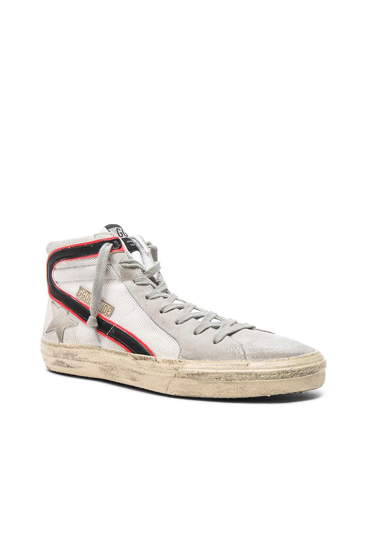 Image 1 of Golden Goose Mesh Slide Sneakers in White Net & Silver Tape