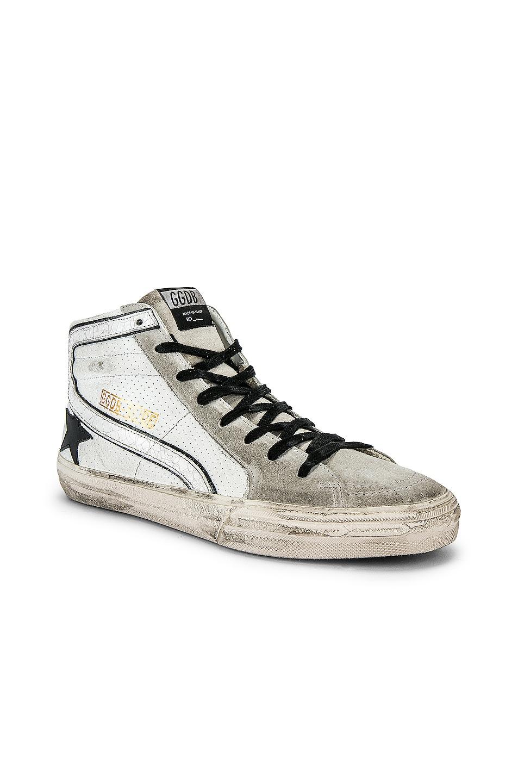 Image 1 of Golden Goose Slide Hi-Top Sneaker in White & Black