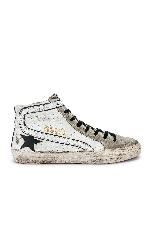 Image 2 of Golden Goose Slide Hi-Top Sneaker in White & Black