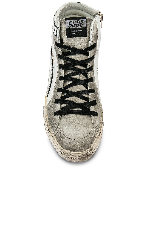 Image 4 of Golden Goose Slide Hi-Top Sneaker in White & Black