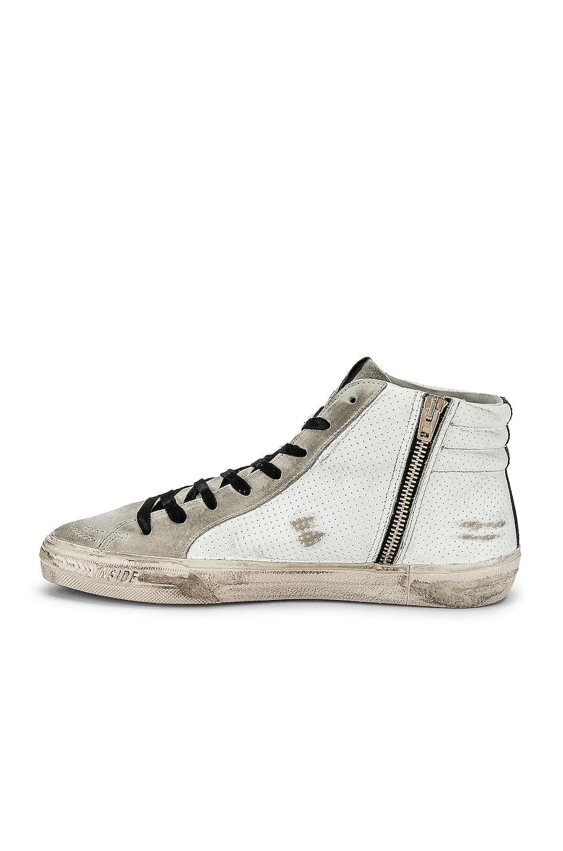 Image 5 of Golden Goose Slide Hi-Top Sneaker in White & Black