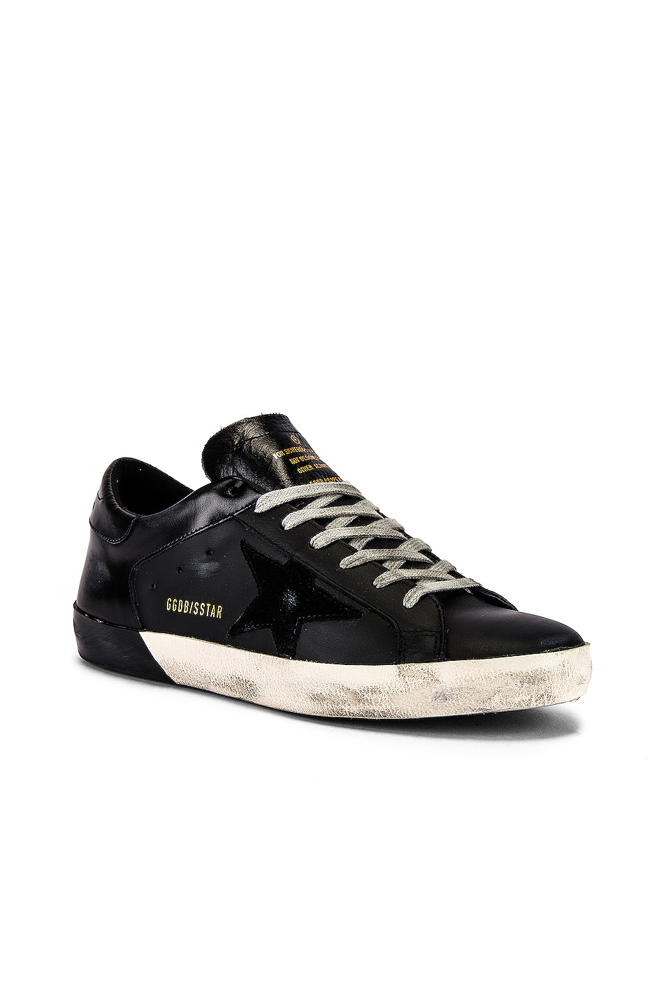 Image 1 of Golden Goose Superstar Sneaker in Black Leather & Black Foxing