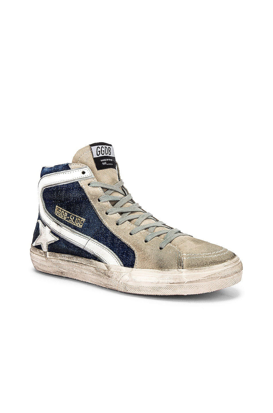Image 1 of Golden Goose Slide Sneaker in Blue Denim & White Star