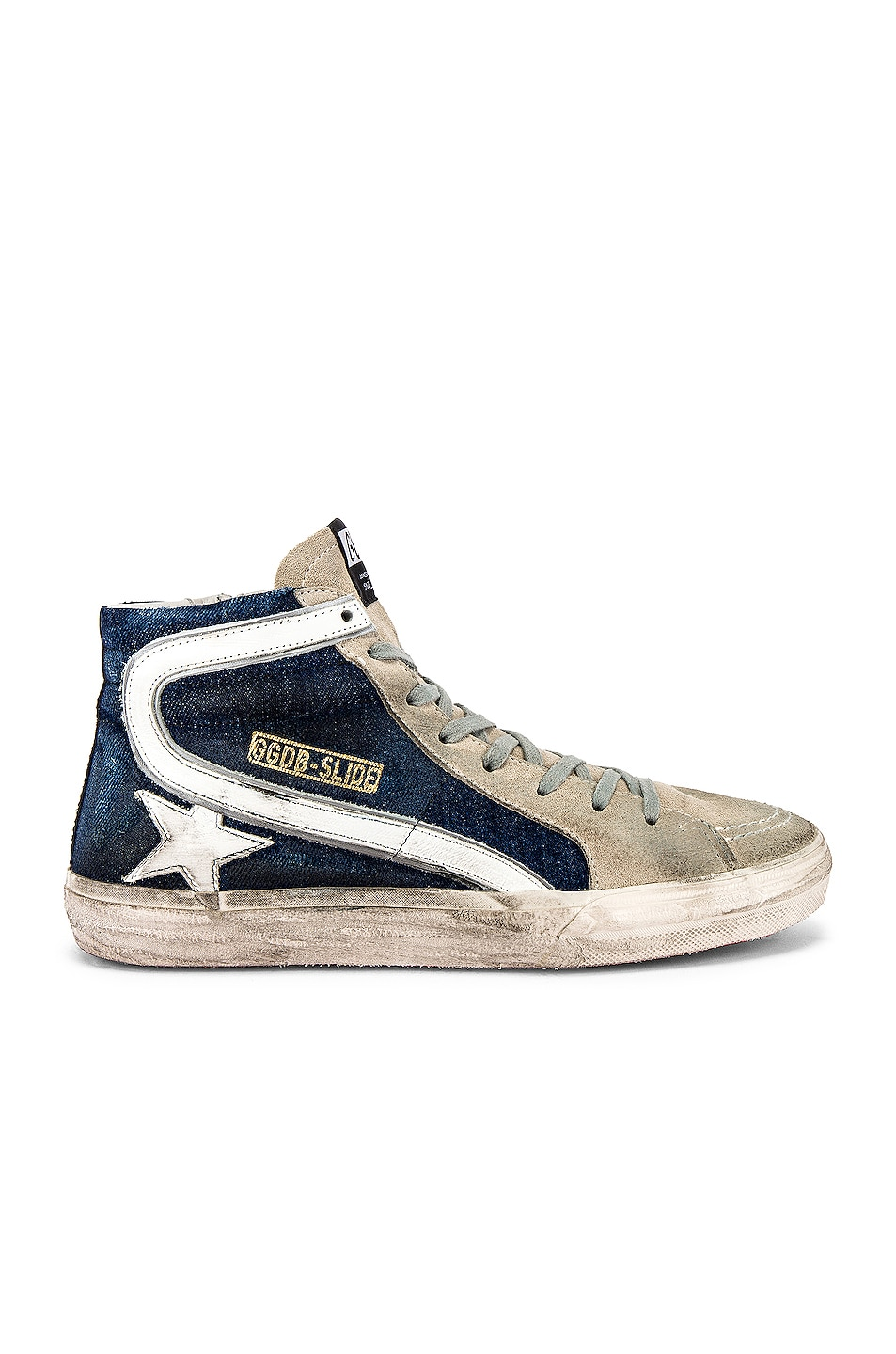 Image 2 of Golden Goose Slide Sneaker in Blue Denim & White Star