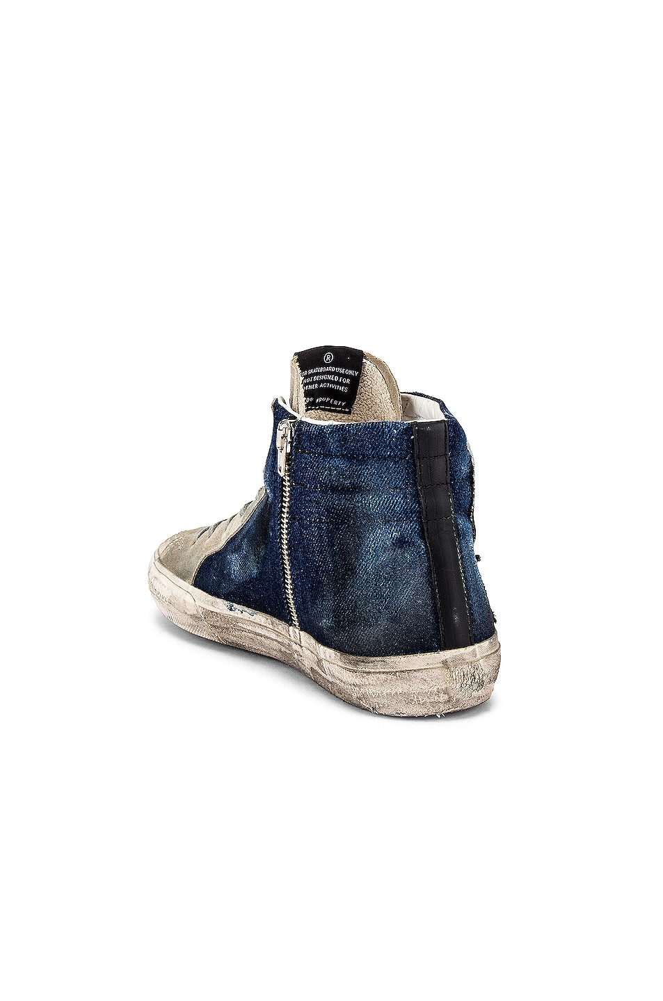 Image 3 of Golden Goose Slide Sneaker in Blue Denim & White Star