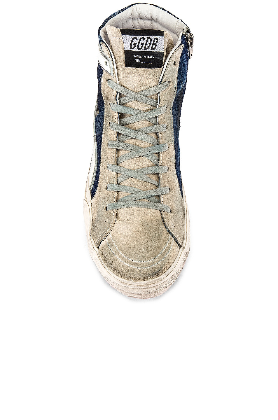 Image 4 of Golden Goose Slide Sneaker in Blue Denim & White Star