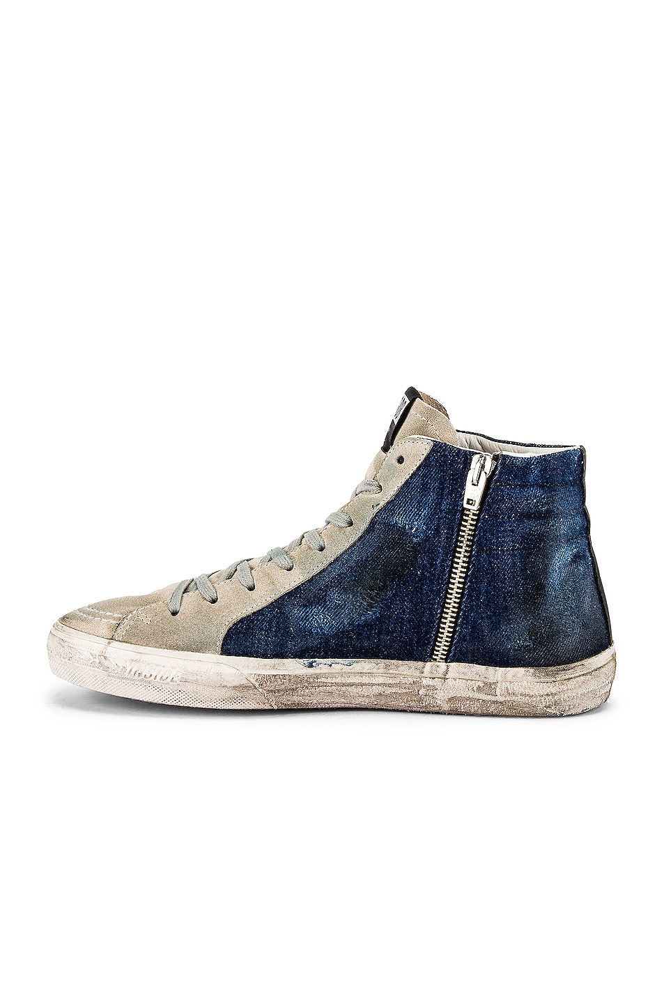 Image 5 of Golden Goose Slide Sneaker in Blue Denim & White Star