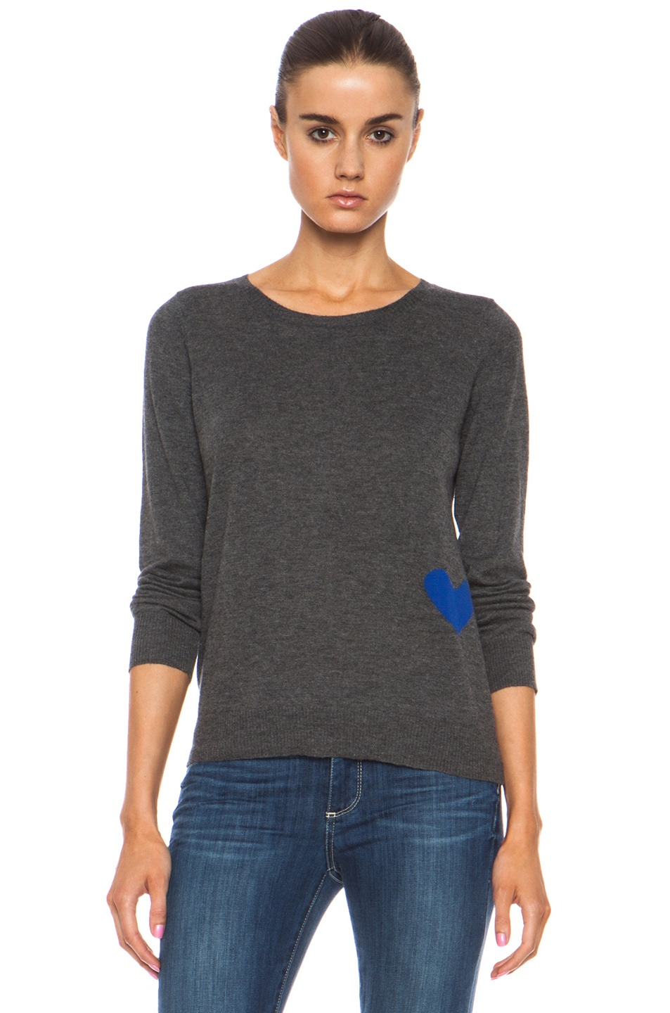 Image 1 of Golden Goose Heart Cashmere Pullover with Button Back Detail in Melange Grey