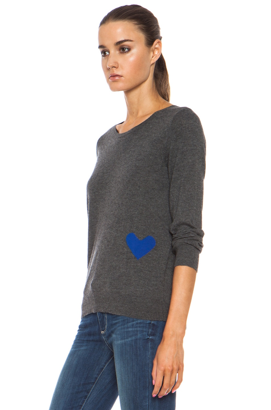 Image 2 of Golden Goose Heart Cashmere Pullover with Button Back Detail in Melange Grey