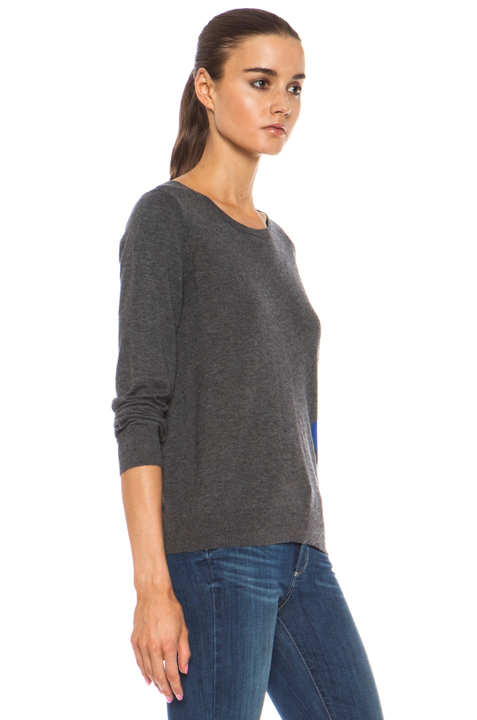 Image 3 of Golden Goose Heart Cashmere Pullover with Button Back Detail in Melange Grey