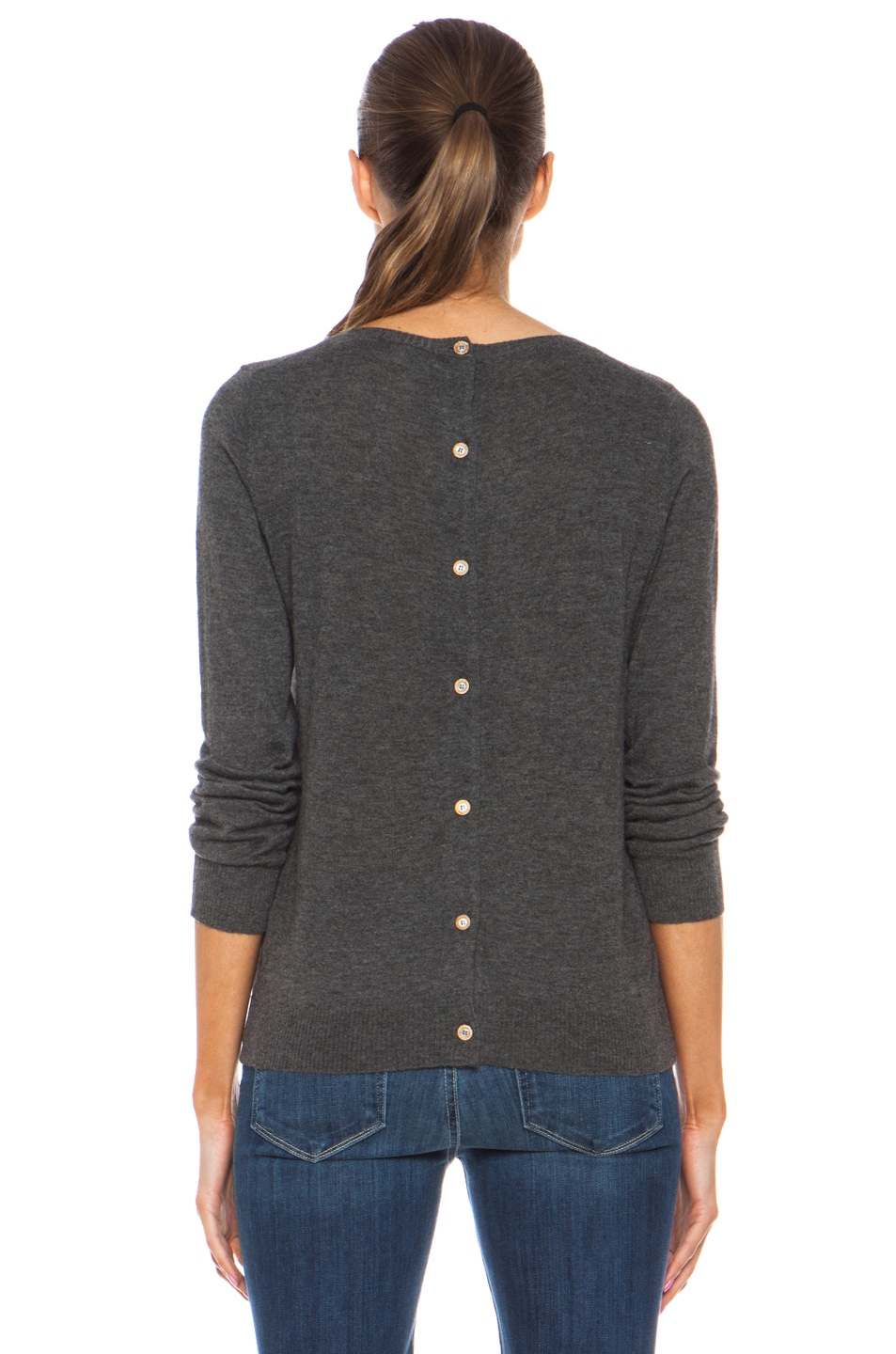 Image 4 of Golden Goose Heart Cashmere Pullover with Button Back Detail in Melange Grey