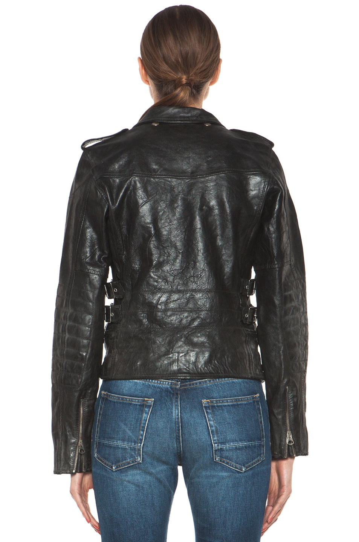 Image 5 of Golden Goose Leather Jacket in Black