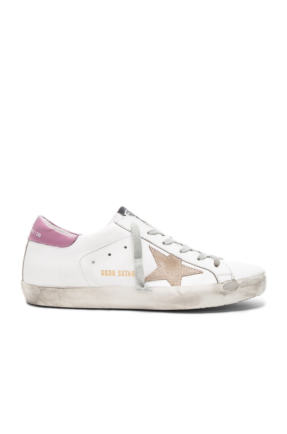 Image 1 of Golden Goose Leather Superstar Sneakers in Dark Lilac & White
