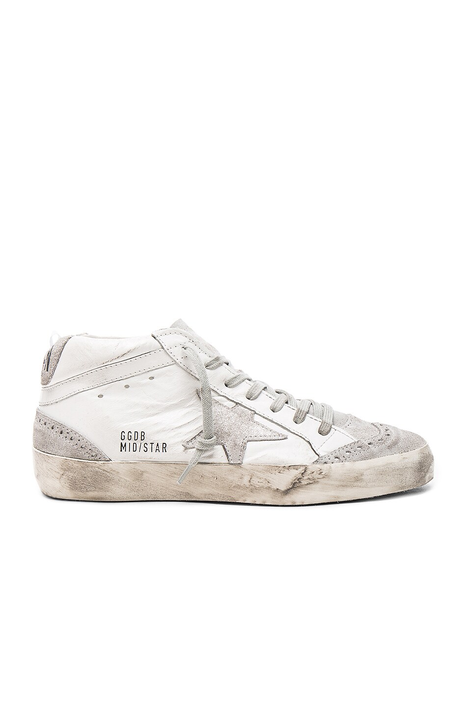1a16494886432f Image 1 of Golden Goose Leather Mid Star Sneakers in Silver Glitter   White