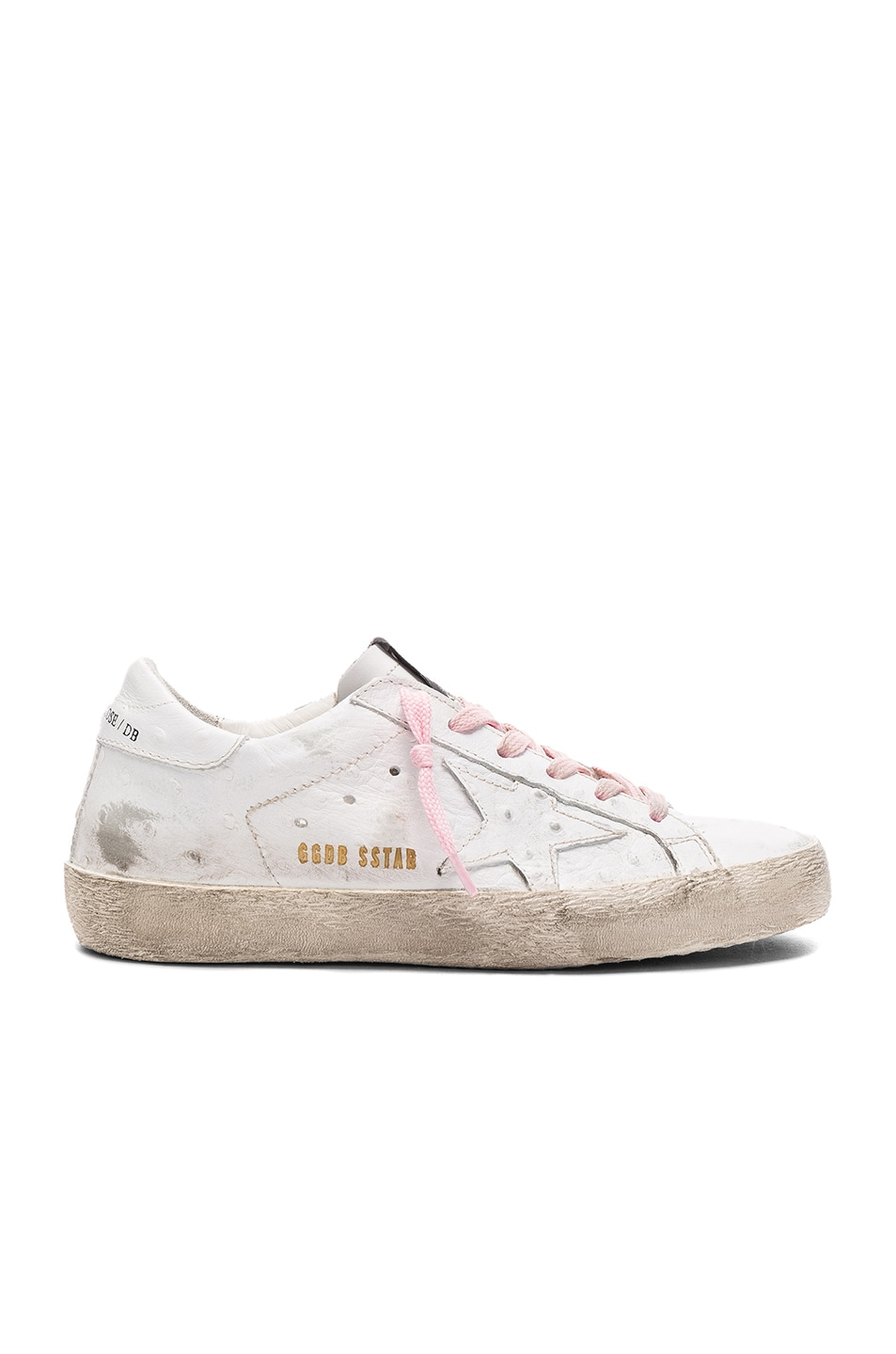 Image 1 of Golden Goose Leather Superstar Low Sneakers in White & Pink