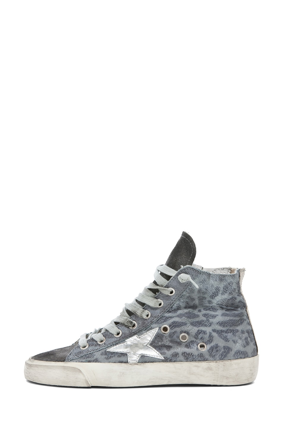 Image 1 of Golden Goose Francy Leopard High Top Sneaker in Silver