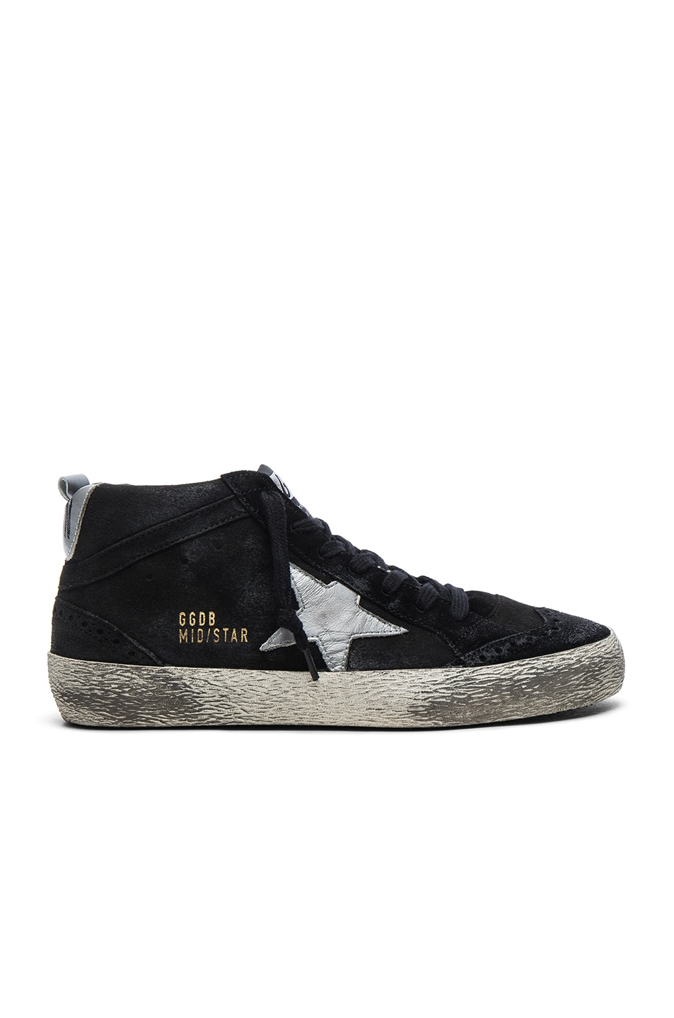 Image 1 of Golden Goose Suede Mid Star Sneakers in Black & Silver
