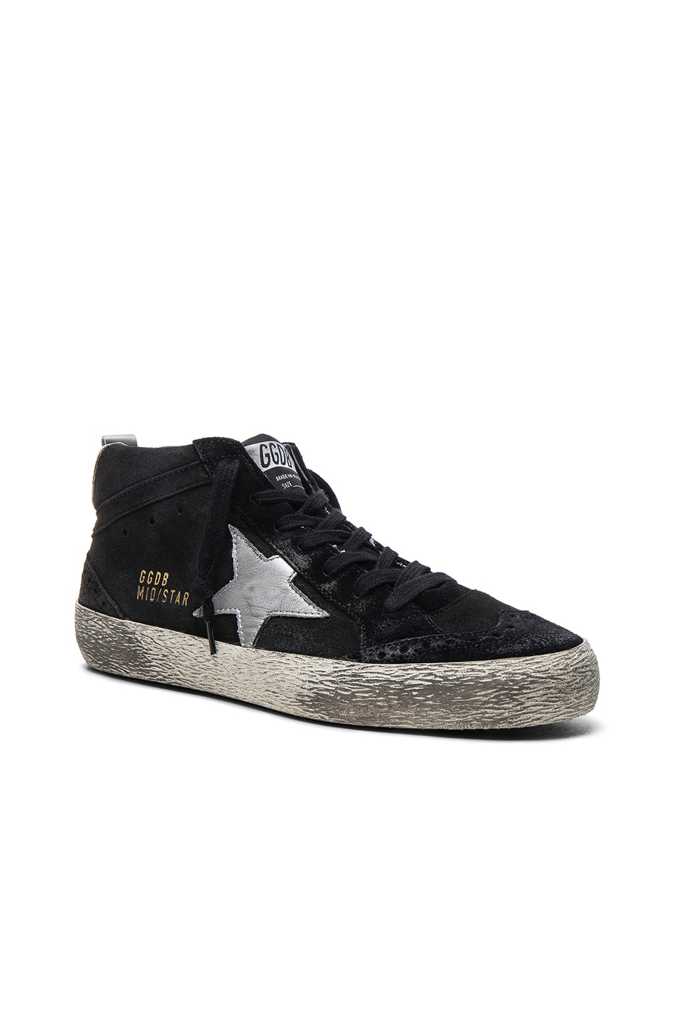 Image 2 of Golden Goose Suede Mid Star Sneakers in Black & Silver
