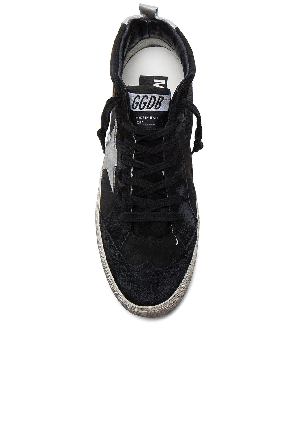 Image 4 of Golden Goose Suede Mid Star Sneakers in Black & Silver