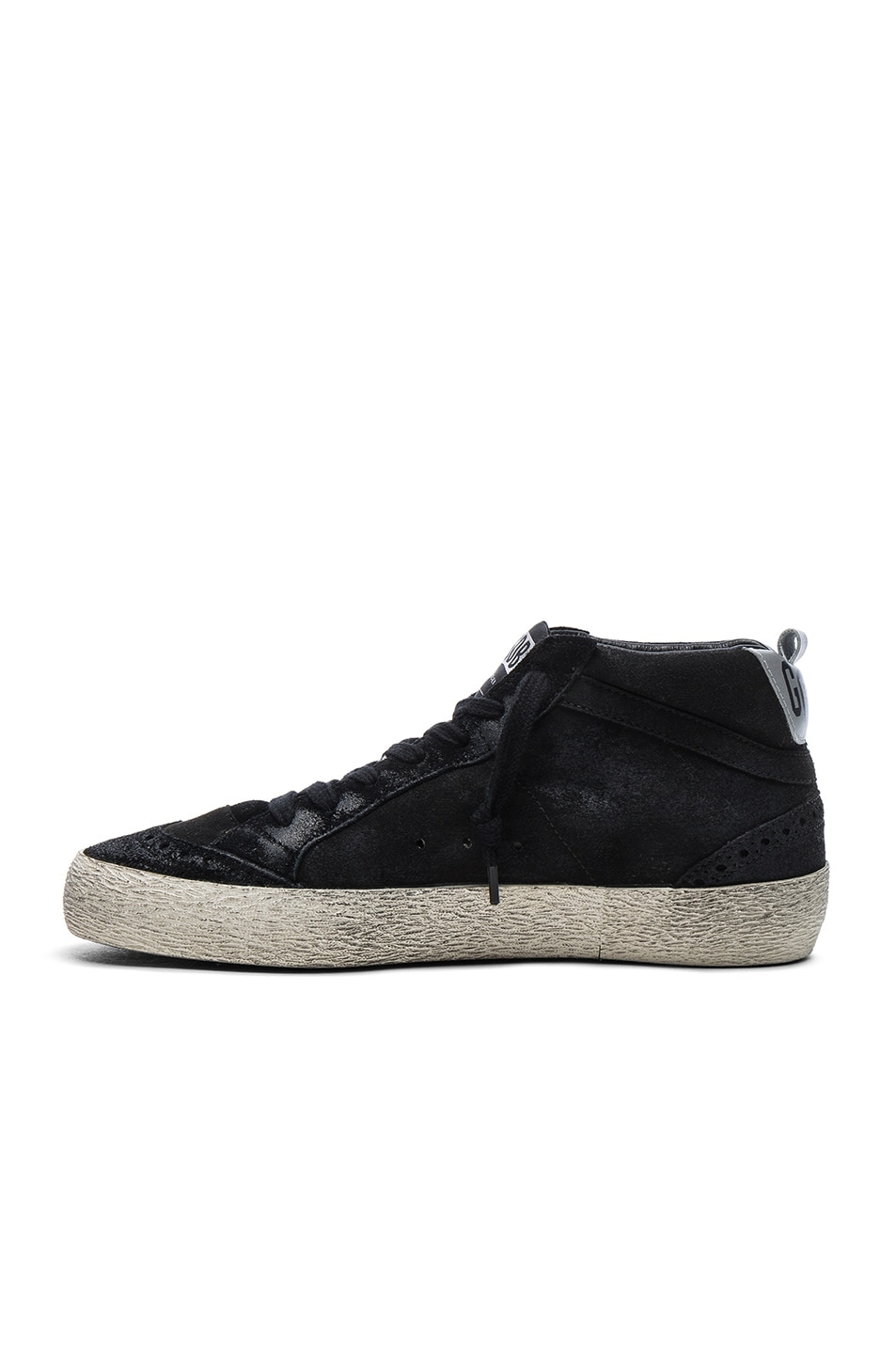 Image 5 of Golden Goose Suede Mid Star Sneakers in Black & Silver